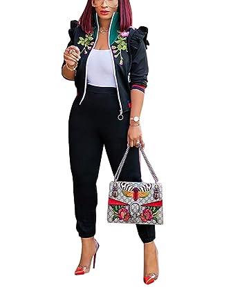 551e20334333 Amazon.com  Mycherish Women s Floral Print Color Block Zip Ruffle Jacket  Tops Striped Long Pants Set 2 Piece Outfits Jumpsuits  Clothing