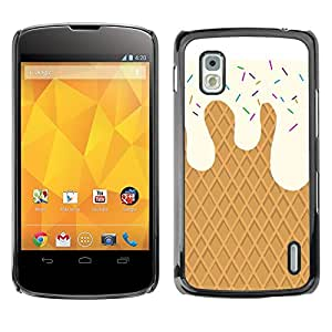 Caucho caso de Shell duro de la cubierta de accesorios de protección BY RAYDREAMMM - LG Google Nexus 4 E960 - Cream Waffle Sweets Summer Sun