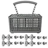 Spares2go Cutlery Basket & Rack Wheels For Aeg Dishwasher (8 Upper + 8 Lower Wheels)