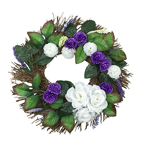 NszzJixo9 White Rose Wreath Christmas Party Leaf Door Wall Decoration Window Ornament Garland Wreath Artificial Pomegranate Flowers Vibrant and Beautiful Door Wall