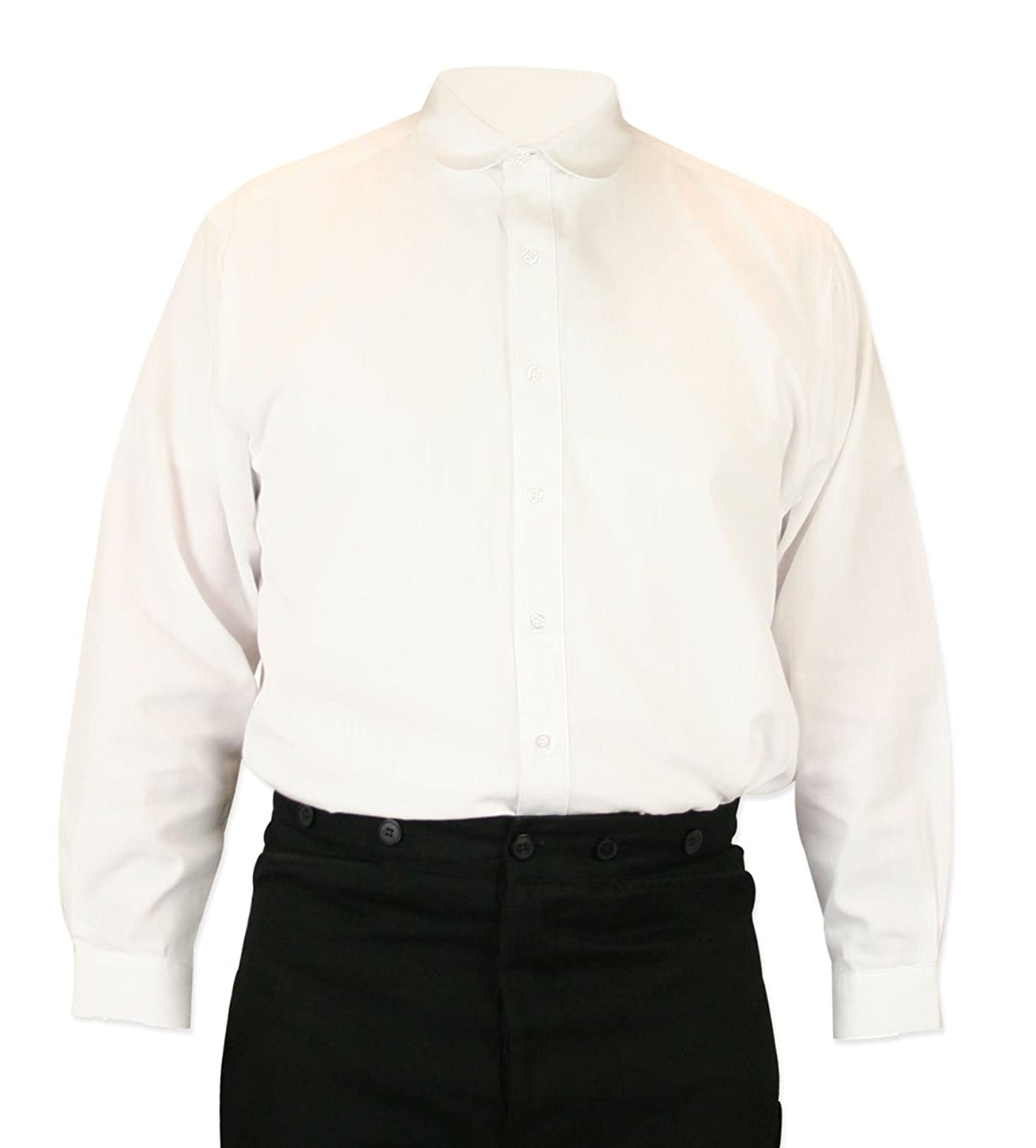 Victorian Men's Shirts- Wingtip, Gambler, Bib, Collarless Virgil Club Collar Dress Shirt $59.95 AT vintagedancer.com