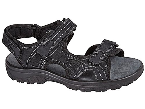 New Mens Nubuck Leather Velcro Strap Sports Walking Open Toe Sandals Martin-Black