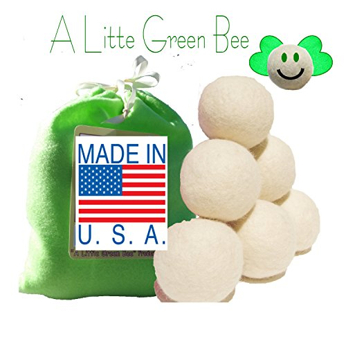 Six Eco-Friendly 100% Wool Dryer balls with Free Eco-Felt Gift bag, Handmade in America , 100% Premium Wool, XL, Natural and Unscented, , (America Fabric Ball)