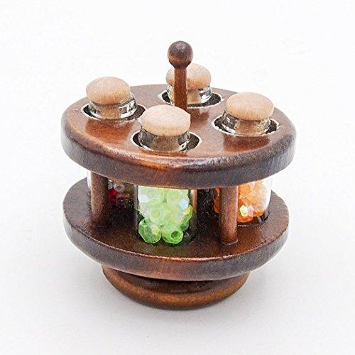 e Round Wooden Spice Rack Shelf Dollhouse Kitchen Accessories (Round Tureen)