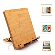 #LightningDeal Bamboo Book Stand Cookbook Holder Reading Desk Bookrest with 5 Adjustable Height, Foldable Tray and Page Paper Clip Portable Sturdy Bookstands for Textbook, Magazine, Music Books, Recipe by Pipishell
