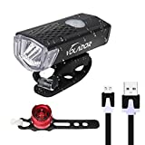 Bike Light Set, VOLADOR Bike Headlight USB Rechargeable, LED Bike Front Light & Taillight(Non-Rechargeable), Waterproof Cycling Light for Street/Mountain/ Kids Bikes