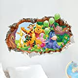 Fange DIY Removable 3D Winnie The Pooh with Rabbit and Tiger Hole View Vinyl Waterproof Wall Stickers for Girls and Boys Nursery Baby Room Children's Bedroom 27.5''x19.6''