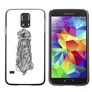 TopCaseStore / la caja del caucho duro de la cubierta de protección de la piel - Woman Sketch White Black - Samsung Galaxy S5 SM-G900