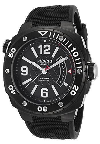 Alpina Al-525Lbb5fbaev6 Men's Extreme Diver Auto Black Rubber And Dial Watch