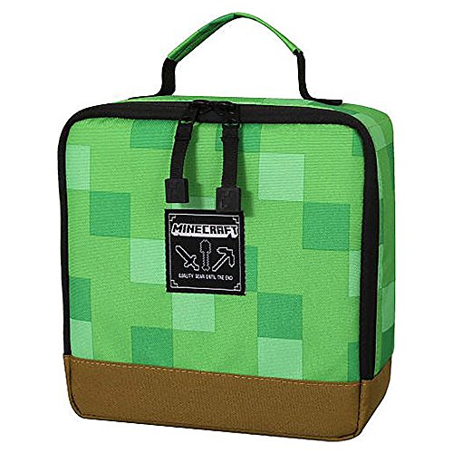 JINX Minecraft Creeper Block Insulated Kids School Lunch Box, Green, 8.5