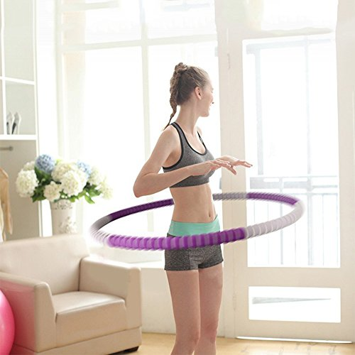 Weighted Fitness Hoop 2.6lbs(Dia.32'') Detachable NBR Foam Exercise Hoop Perfect for Adult Fitness,Workout,Weight Loss (Red)
