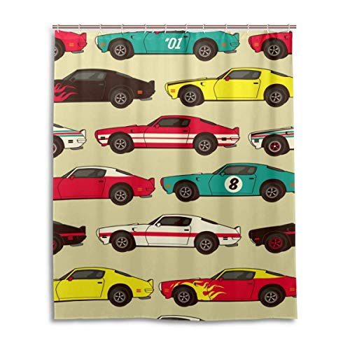 Breezming Classic Racing Car Vintage Shower Curtain 66 x 72 Inch Waterproof Polyester Decoration Bathroom Curtain with Hooks