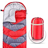 Abco Tech Sleeping Bag – Envelope Lightweight Portable, Waterproof, Comfort with Compression Sack – Great for 4 Season Traveling, Camping, Hiking, Outdoor Activities & Boys. (Single) (Red) Review