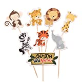 Cupcake Cake Toppers Safari Jungle Animal Cupcake Toppers Picks (24) | Boy Girl Birthday Party Toppers | Birthday Party Decorations Supplies | No Assembly Required
