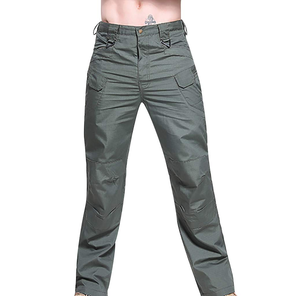 Seaintheson Men's Casual Overalls Pants,Outdoor Straight Slim Fit Sports Cargo Pants Solid Color Hiking Tactical Pants Army Green