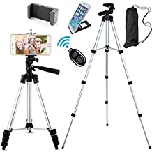 """Jiraiya Aluminum Professional Lightweight Camera Tripod for iPhone, Cellphone,Gopro Hero,Cameras,Camcorder with Cellphone Holder Clip and Remote Shutter-43""""/Silver"""