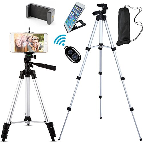 FOANT Aluminum Professional Lightweight Camera Tripod for iPhone, Cellphone,Gopro Hero,Cameras,Camcorder with Cellphone Holder Clip and Remote Shutter-43