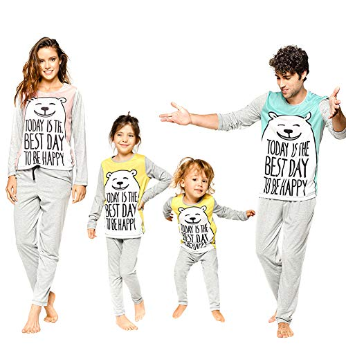 chinatera Family Matching Clothes Pajamas Sleepwear Set Cute Cartoon Bear Cotton Kids Toddlers Men Women T-Shirt Tops Pants -