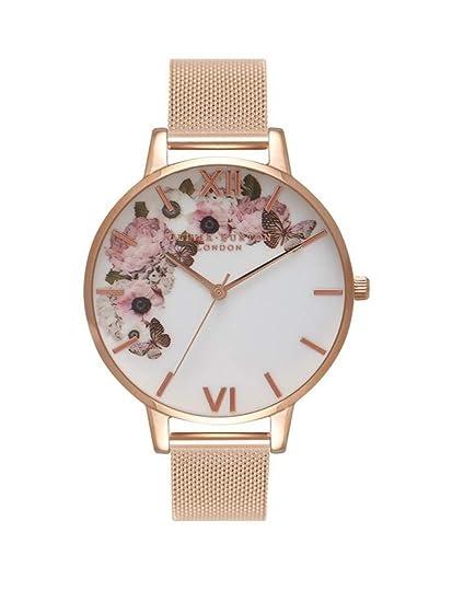 Olivia Burton Reloj Analógico para Mujer de Cuarzo con Correa en Acero Inoxidable OB16WG18: Amazon.es: Relojes