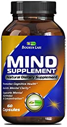 Natural Mind and Memory Supplement – Increases Mental Performance & Clarity – Supports Brain Function – Made with Pure Green Tea Extract + DMAE Bitartrate + Vitamins – 60 Capsules