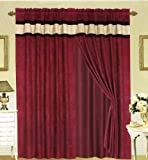 MODERN Brown, Burgundy, and Black Suede Patchwork Window Curtain / Drape Set with Sheer Backing 120-by-84-Inch