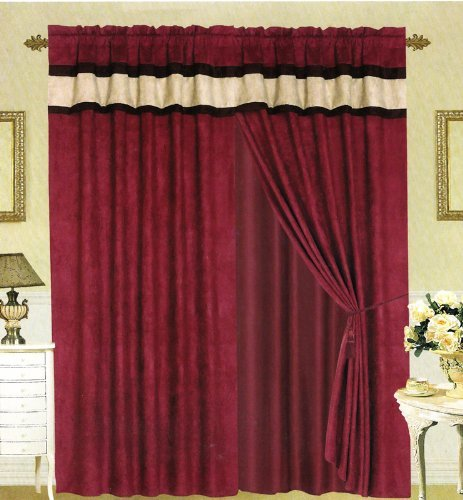 Burgundy And Black Curtains.Grand Linen Modern Brown Burgundy And Black Suede Patchwork Window Curtain Drape Set With Sheer Backing 120 By 84 Inch