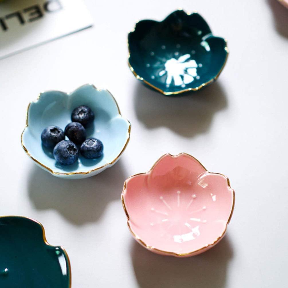 TOPBATHY 2pcs Ceramic Sauce Dish Dip Bowls Seasoning Dish Serving Dish Seasoning Bowl Sushi Soy Dishes for Snack Sushi Fruit Appetizer Dessert Random Color