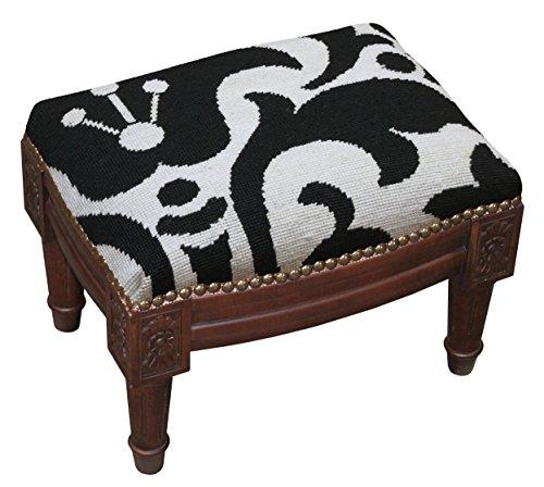 SketchONE Wool Needlepoint Upholstered Footrest, Damask, Black