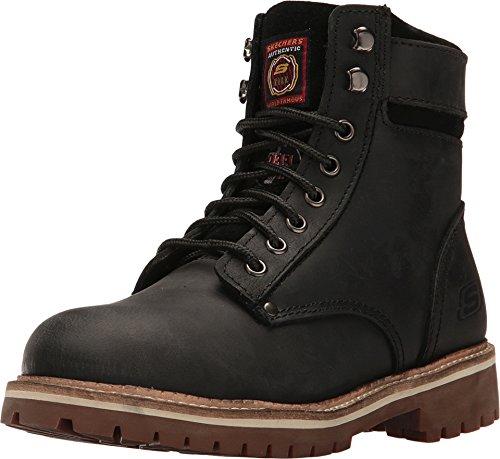 Skechers Women's Work Brooten Steel Toe Boot,Black Buffalo Crazyhorse Leather,7.5 (Skechers Crazy Horse)