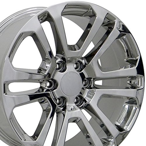 Aluminum Plated Rims Chrome (OE Wheels 22 Inch Fits Chevy Silverado Tahoe GMC Sierra Yukon Cadillac Escalade CV99 Chrome 22x9 CK158 Rim Hollander 4741)