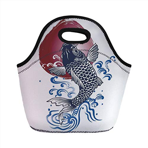 Ocean Animal Decor,Ornate Japanese Brocaded Carp Fin with Red Circular Form Eastern Fresh Graphic,Blue,for Kids Adult Thermal Insulated Tote Bags