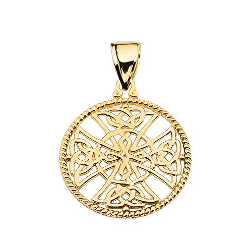 Religious Jewelry by FDJ 10k Yellow Gold Trinity Knot Celtic Cross Round Rope Design Frame Pendant