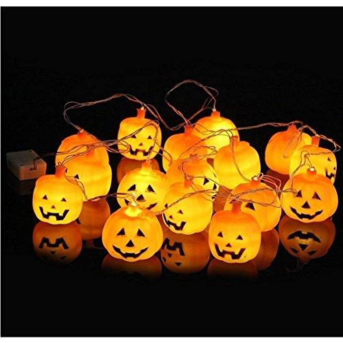6MILES 16PCS Bulbs Battery Operated Powered 3D Jack Lantern Pumpkin LED Lamp Fairy String Lights Halloween Party Decoration Masquerade Terror Night Lights Decor 10.5ft