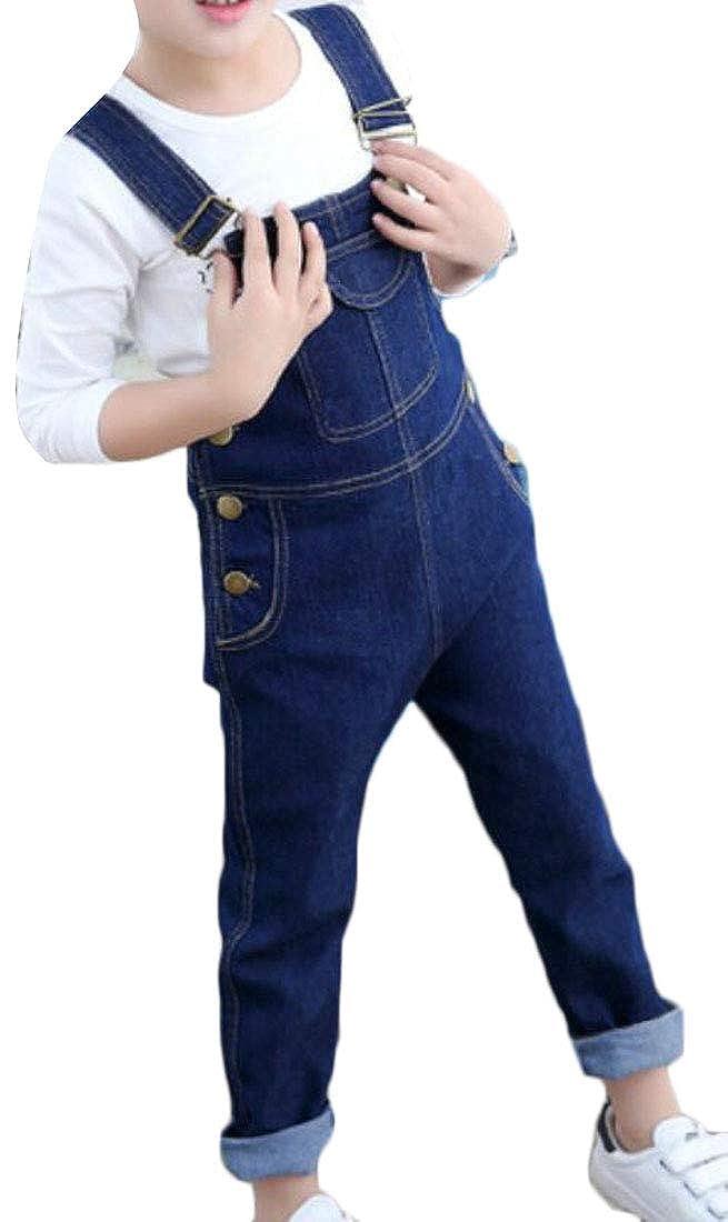 Cromoncent Boys Girls Winter Wool Lined Suspender Bib Overalls Jean Denim Pants