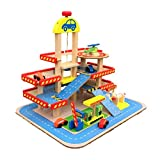 """Wooden Garage Playset Car Wash 3 Story Parking Gas Station Helicopter Figure Toy 16""""x16""""x19"""
