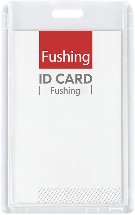Fushing 6 Pack Heavy Duty ID Card Holders Double-Sided Clear Acrylic Crystal Badge Holder, Name Tag Holder for Student Employee Worker Office Meeting Company School (Vertical)