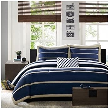 bedspreads stirring gray comforters window black white and medium blue sets of bedroom size cover striped duvet comforter