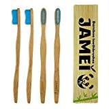 Bamboo Toothbrush Biodegradable Natural Handle, BPA Free Nylon Medium Bristles 4 Pack by Jamei - We Plant Trees