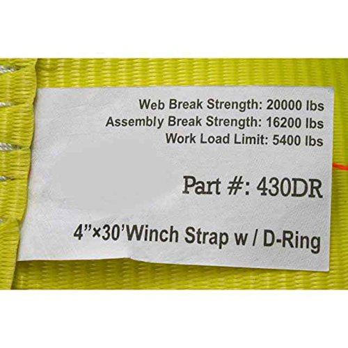 4'' x 30' Winch Straps with D-Ring - 10 Pack by US Cargo Control (Image #2)