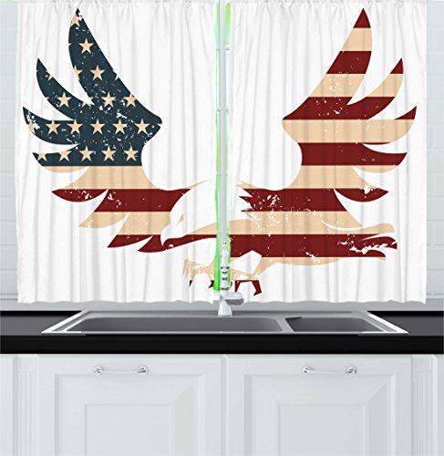 Ambesonne American Decor Kitchen Curtains by, Patriotic Them