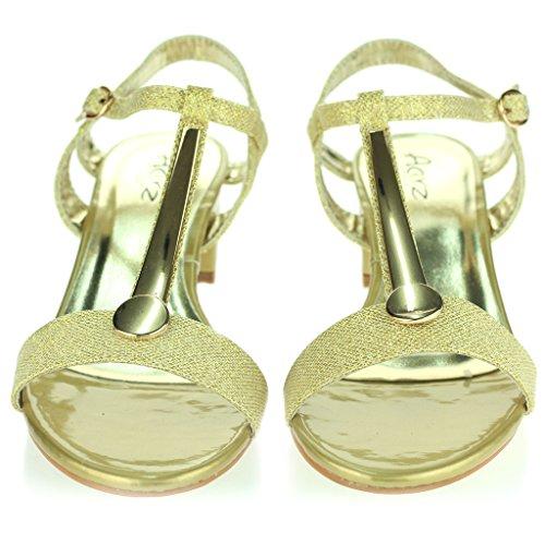 Punta Correa Talla Bloque de Zapatos Tacón Señoras de Abierta Sandalias Cierre Fiesta Casual Oro Mujer Detalle Tobillo Medio Noche de Hebilla InF7qpwH