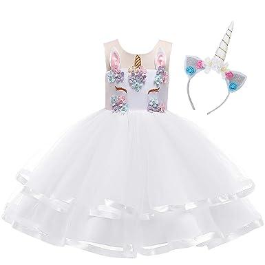 b25594d6d2a39 OBEEII Enfant Fille Anniversaire Licorne Déguisement avec Unicorn  Serre-tête Princesse Robe de Carnaval Noël