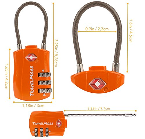TSA Approved Travel Combination Cable Luggage Locks for ...