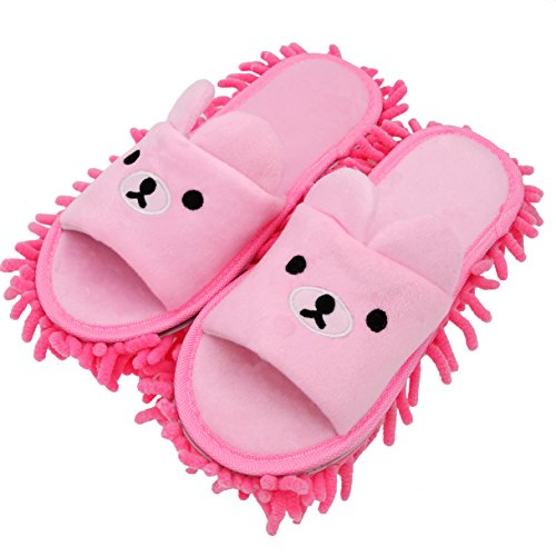 Selric [Bear Image] Super Chenille Microfiber Washable Mop Slippers Shoes for Women, Floor Dust Dirt Hair Cleaner, Multi-sizes & Multi-Colors Available 8 2/3