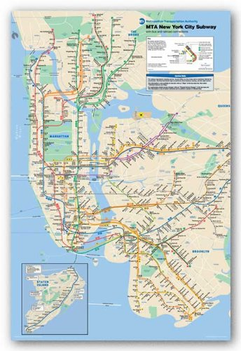 Framed New York Subway Map.Pyramid New York City Subway Poster Print