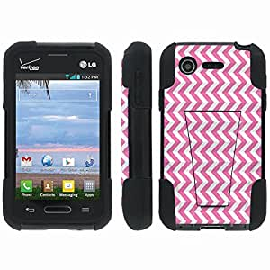 [ArmorXtreme] Hybrid Armor View-Stand Design Image Protect Case (Pink Chevron) for LG Optimus Zone 2 VS415PP / L34C Fuel