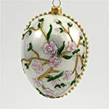 Faberge Inspired -Cherry Blossom Egg - Polish Mouth Blown Glass Christmas Ornament