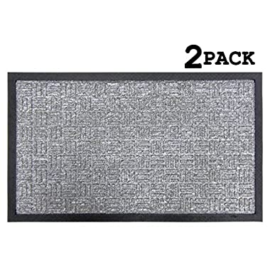 Iron Gate 2 Pack Gatekeeper WaterHog Doormat 18x30 Grey, Extremely sturdy and rugged construction 69 Ounces / 6000 GSM, Polypropylene surface & Rubber back for better floor grip, Raised ridge design