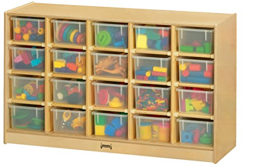 Jonti-Craft 04210JC 20 Cubbie-Tray Mobile Storage with Clear (Jonti Craft Cubbie Tray)