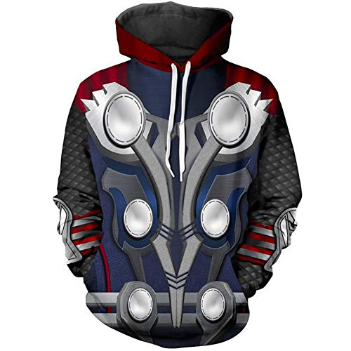 Super Hero Hoodie Super Hero Costume Creative Fashion Sweater Halloween Costume (S, Thor)